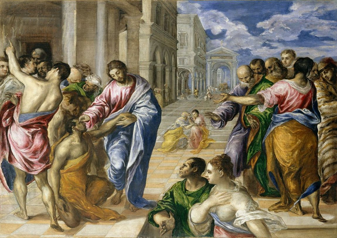 Greco, El (Domenico Theotocopuli): Christ Healing the Blind Man. Religious Fine Art Print/Poster. Sizes: A4/A3/A2/A1 (00669)
